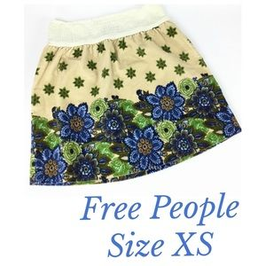 Free People XS Smocked Waist Corduroy Floral Skirt